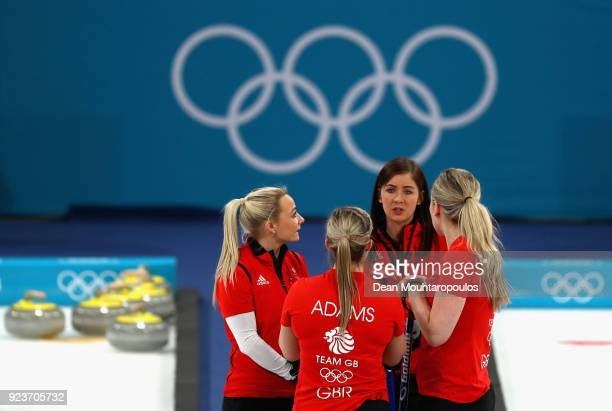 Eve Muirhead Anna Sloan Vicki Adams and Lauren Gray of Great Britain during the Curling Womens' bronze Medal match between Great Britain and Japan on...