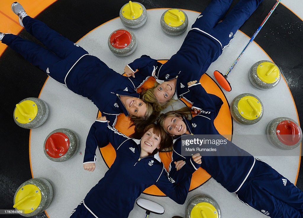 Eve Muirhead, Claire Hamilton, Vicki Adams and Anna Sloan pose during a press conference to announce they have been selected for the Team GB Curling team for the Sochi 2014 Winter Olympic Games at Braehead Curling Rink on August 28, 2013 in Glasgow, Scotland.