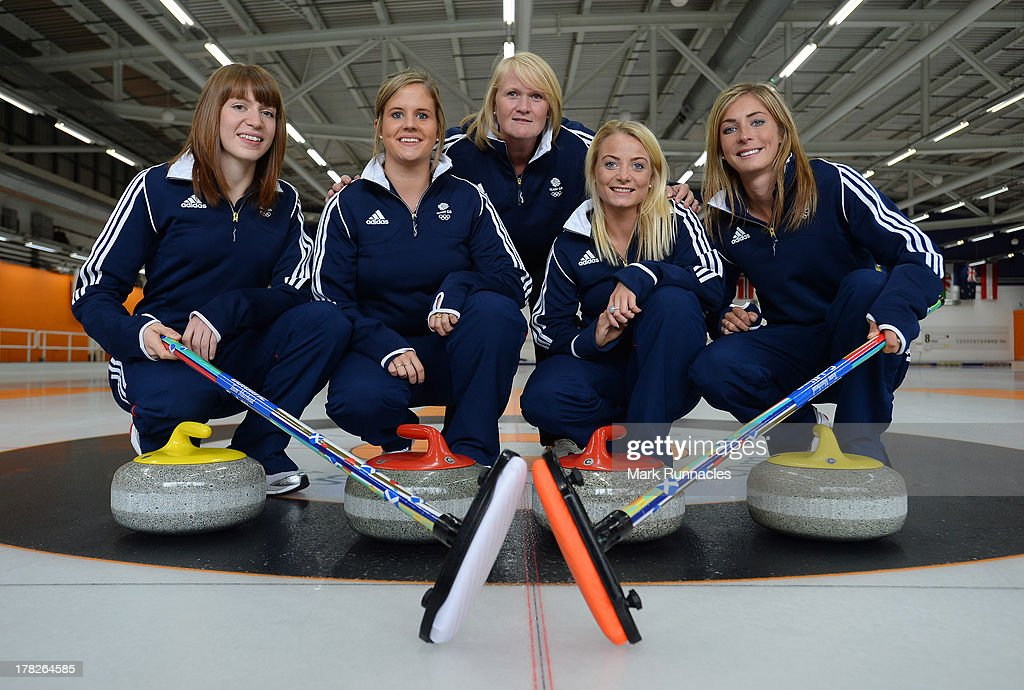 Eve Muirhead, Claire Hamilton, Vicki Adams and Anna Sloan pose with Woman's Head Coach Rhona Howie during a press conference to announce they have been selected for the Team GB Curling team for the Sochi 2014 Winter Olympic Games at Braehead Curling Rink on August 28, 2013 in Glasgow, Scotland.