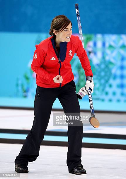 Eve Muirhead of Great Britain celebrates as Team GB win the bronze medal with the final stone during the Bronze medal match between Switzerland and...