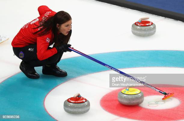 Eve Muirhead of Great Britain competes during the Curling Womens' bronze Medal match between Great Britain and Japan on day fifteen of the...