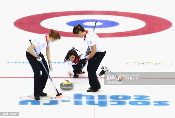 Eve Muirhead of Great Britain in action during the Curling Round Robin match between Canada and Great Britain during day five of the Sochi 2014...
