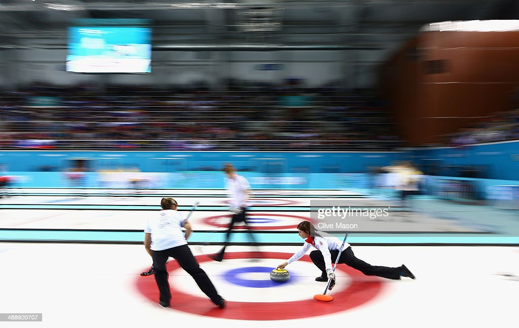 Eve Muirhead of Great Britain in action during the Curling Round Robin match between Canada and Great Britain during day five of the Sochi 2014 Winter Olympics at Ice Cube Curling Center on February 12, 2014 in Sochi, Russia.