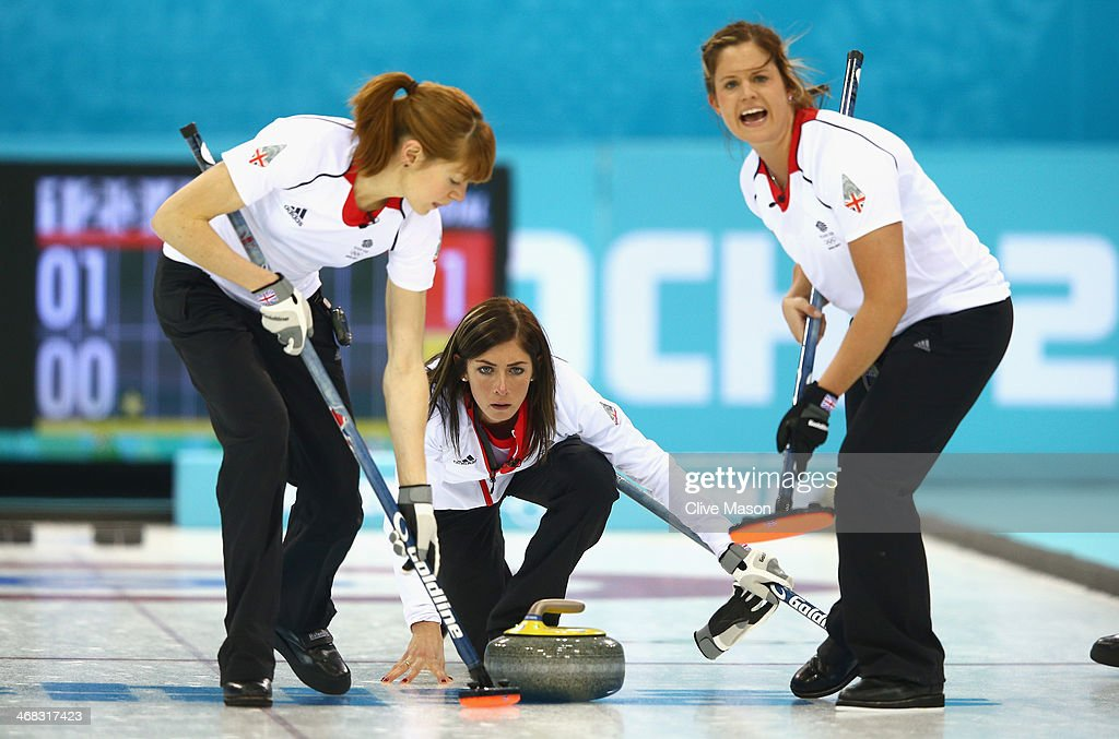 Eve Muirhead of Great Britain in action during the round robin match against Sweden during day 3 of the Sochi 2014 Winter Olympics at Ice Cube Curling Center on February 10, 2014 in Sochi, Russia.