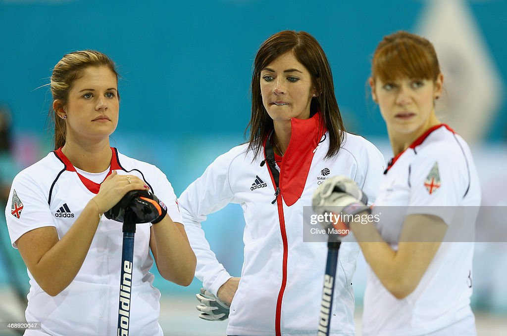 Eve Muirhead of Great Britain (centre) looks on during the Curling Round Robin match between Canada and Great Britain during day five of the Sochi 2014 Winter Olympics at Ice Cube Curling Center on February 12, 2014 in Sochi, Russia.