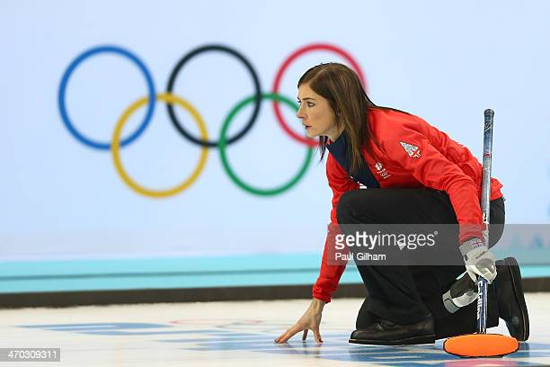 Eve Muirhead of Great Britain looks on during the women's semifinal match between Great Britain and Canada at Ice Cube Curling Center on February 19,...