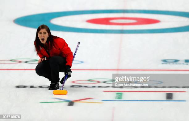 Eve Muirhead of Great Britain reacts during the Curling Womens' bronze Medal match between Great Britain and Japan on day fifteen of the PyeongChang...