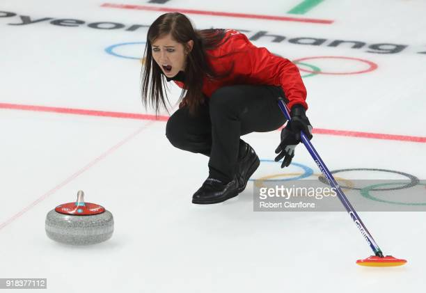 Eve Muirhead of Great Britain reacts during the Curling Women's Round Robin Session 2 held at Gangneung Curling Centre on February 15 2018 in...