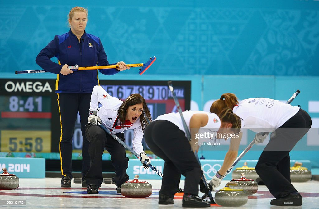 Eve Muirhead of Great Britain shouts instructions as Margaretha Sigfridsson of Sweden looks on during the round robin match against Sweden during day 3 of the Sochi 2014 Winter Olympics at Ice Cube Curling Center on February 10, 2014 in Sochi, Russia.