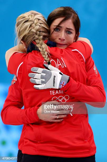 Eve Muirhead of Great Britain shows her emotions as she celebrates with Anna Sloan as Team GB win the bronze medal during the Bronze medal match...