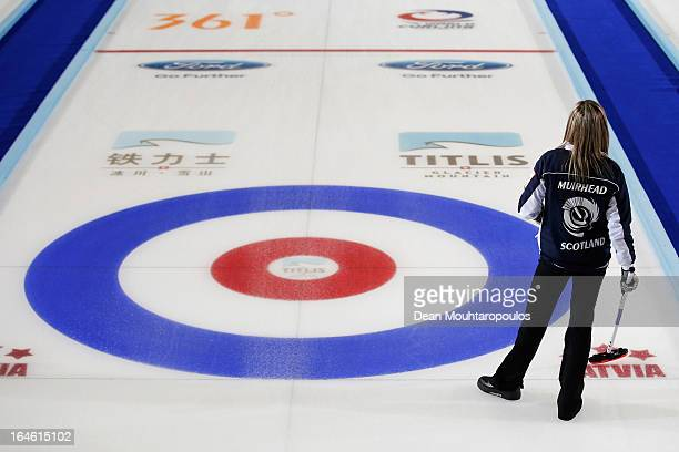 Eve Muirhead of Scotland looks on during the Gold medal match between Sweden and Scotland on Day 9 of the Titlis Glacier Mountain World Women's...