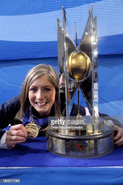 Eve Muirhead of Scotland poses with the trophy and Gold medal after winning the Gold medal match between Sweden and Scotland on Day 9 of the Titlis...
