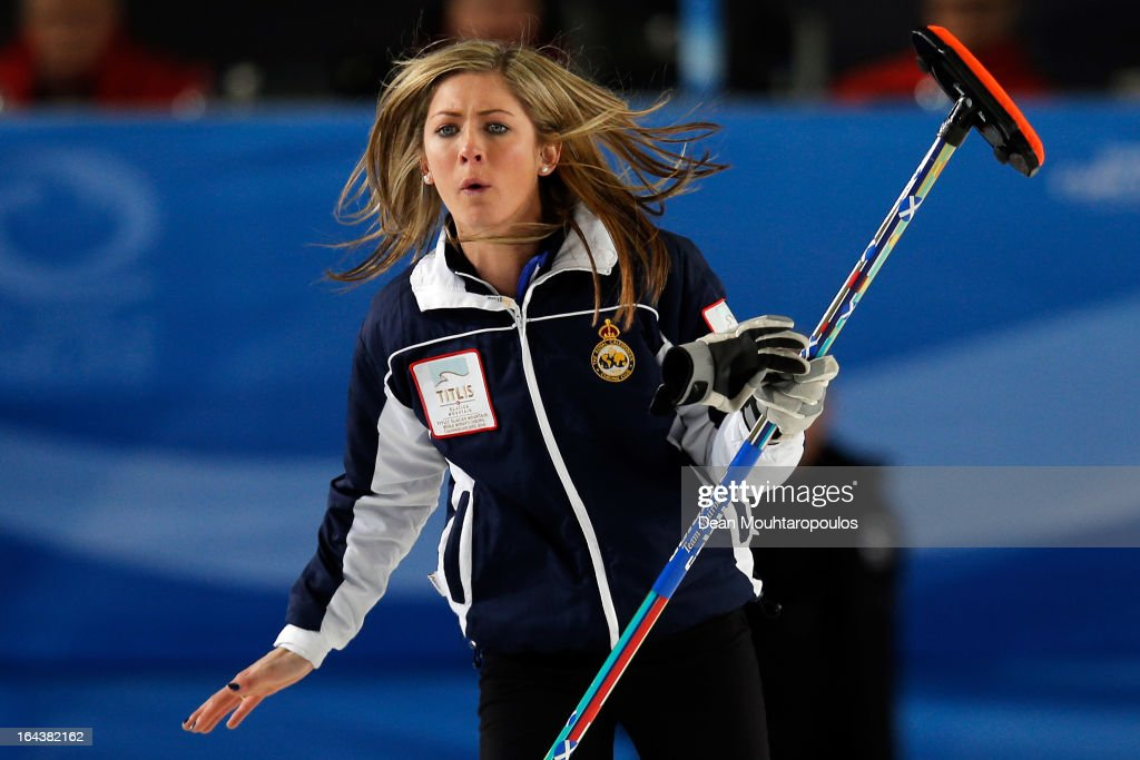 Eve Muirhead of Scotland screams instructions to team mates during the Semi Final match between Scotland and Canada on Day 8 of the Titlis Glacier Mountain World Women's Curling Championship at the Volvo Sports Centre on March 23, 2013 in Riga, Latvia.