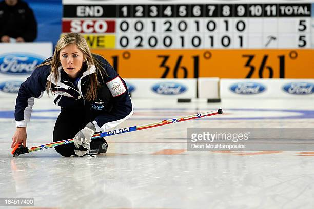 Eve Muirhead of Scotland watches the final shot to win the Gold medal match between Sweden and Scotland on Day 9 of the Titlis Glacier Mountain World...