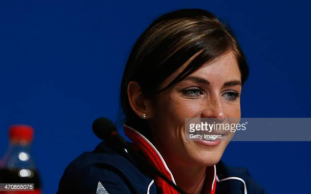 Eve Muirhead of the Great Britain Curling team speaks with the media during a press conference after Team GB won the bronze medal on day 13 of the...