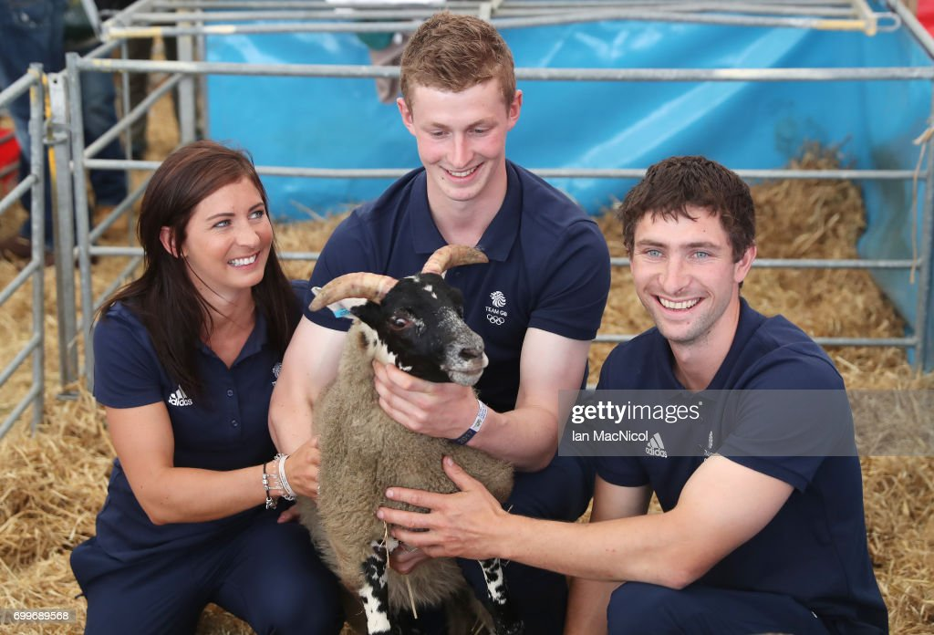 Eve Muirhead, Thomas Muirhead and Glen Muirhead pose for photographs at The Royal Highland show after being amongst the first athletes selected to represent Great Britain at PyeongChang 2018, on June 22, 2017 in Edinburgh, Scotland.