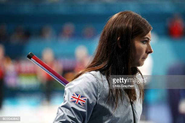 Eve Murihead of Great Britian competes against Canada during the Women's Round Robin Session 11 at Gangneung Curling Centre on February 21 2018 in...