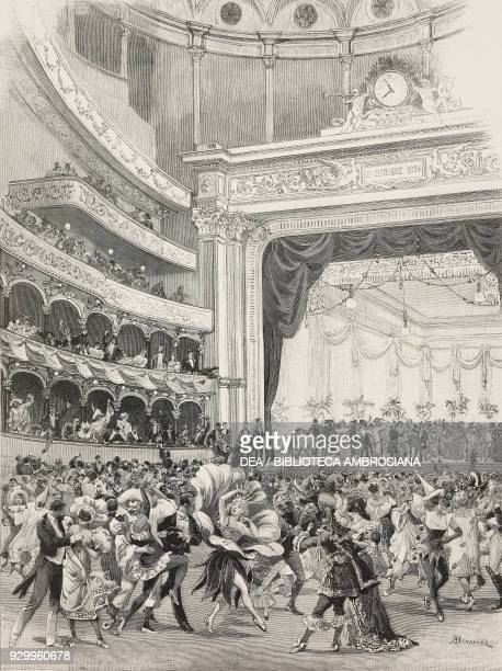 Eve of Carnival at the Teatro Lirico in Milan Italy drawing by A Bonamore from L'Illustrazione Italiana Year XXII No 8 February 24 1895