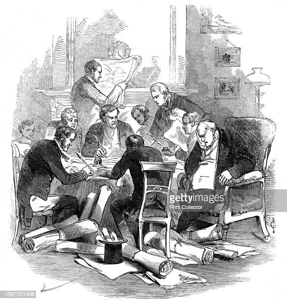 Eve of the 30th - correcting plans at a tavern, 1845. Finalising railway applications for the Board of Trade: 'The scene was an animated one...But an...