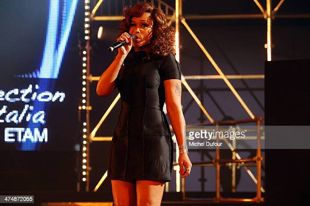Eve performs during the ETAM show as part of the Paris Fashion Week Womenswear Fall/Winter 20142015 on February 25 2014 in Paris France