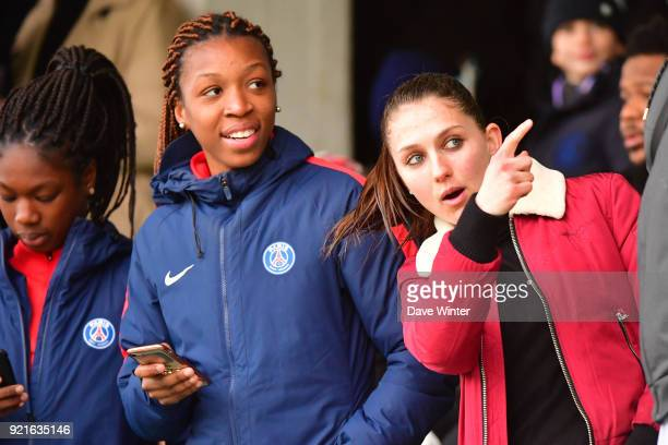 Eve Perisset and Grace Geyoro of the PSG women's team during the UEFA Youth League match between Paris Saint Germain and FC Barcelona on February 20...