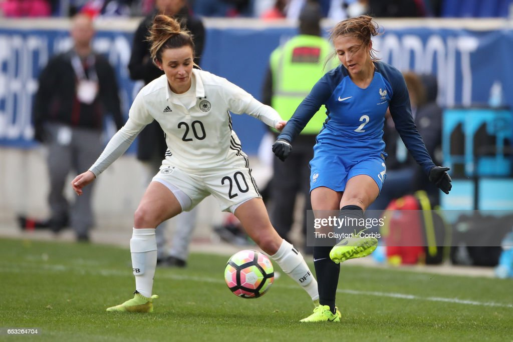 Eve Perisset #2 of France challenged by Lina Magull #20 of Germany during the France Vs Germany SheBelieves Cup International match at Red Bull Arena on March 4, 2017 in Harrison, New Jersey.