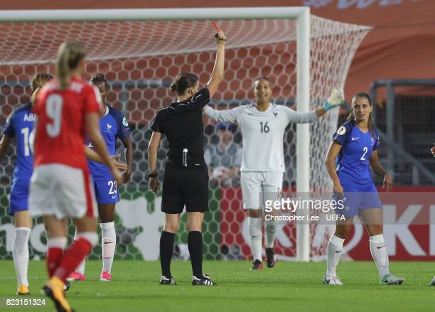 Eve Perisset of France is sent off during the UEFA Women's Euro 2017 Group C match between Switzerland and France at Rat Verlegh Stadion on July 26...