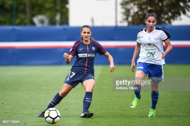 Eve Perisset of PSG and Anna Clerac of Soyaux during women's Division 1 match between Paris Saint Germain PSG and Soyaux on September 3 2017 in Paris...