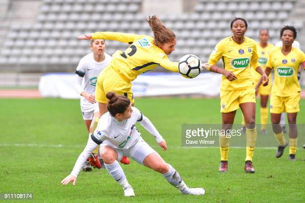 Eve Perisset of PSG and Mathilde Bourdieu of Paris FC during the Women's National Cup match between Paris FC and Paris Saint Germain at Stade...