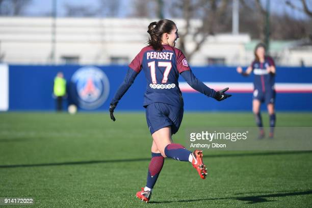 Eve Perisset of PSG celebrates her goal during the Womens Division 1 match between Paris Saint Germain PSG and Guingamp on February 4 2018 in Paris...