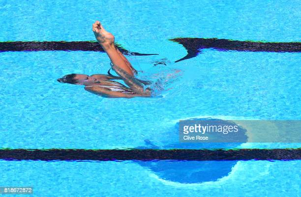 Eve Planeix of France competes during the Synchronised Swimming Solo Free Final on day six of the Budapest 2017 FINA World Championships on July 19...
