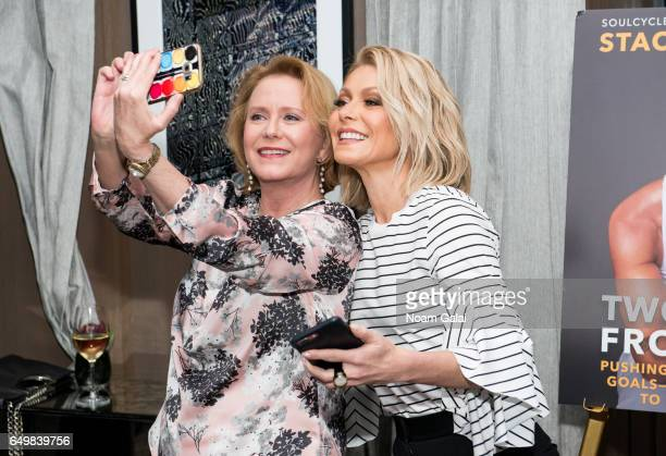 Eve Plumb and Kelly Ripa attend the Two Turns From Zero book launch event at The Regency Bar and Grill on March 8 2017 in New York City