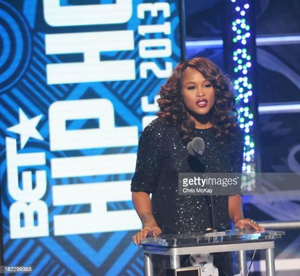 Eve presents the I Am Hip Hop Award during the BET Hip Hop Awards 2013 at the Boisfeuillet Jones Atlanta Civic Center on September 28 2013 in Atlanta...