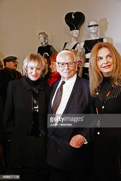 Eve Ruggieri Pierre Cardin and Cyrielle Clair attend the Pierre Cardin Museum opening cocktail on November 13 2014 in Paris France