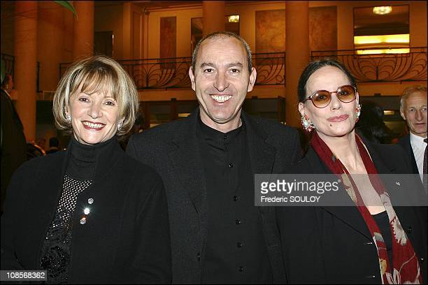 Eve Ruggieri with her husband and Claudine Auger in Paris France on February 04th 2005