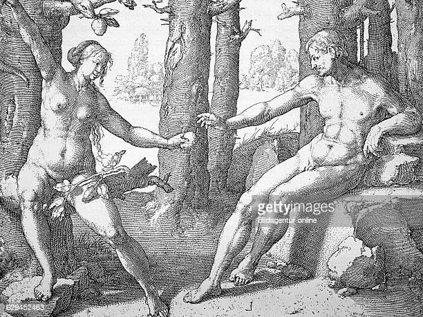 Eve seducing adam copper engraving by lucas van leyden 17th century