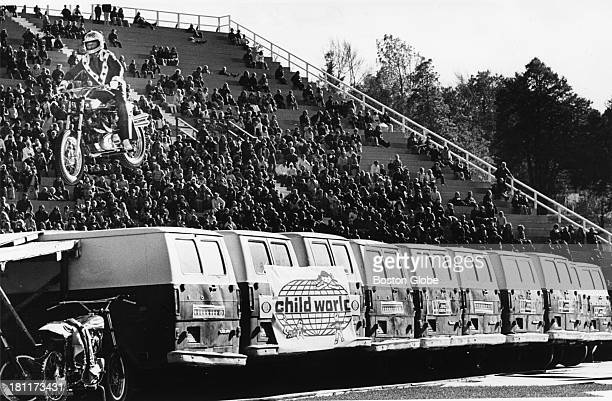 OCTOBER 11 Evel Knievel jumps 10 trucks at Holly Cross's Fitton Field in Worcester Mass on Oct 11 1976