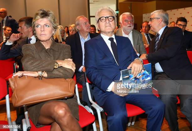 Evelina Christillin and Antonio Matarrese during the unveiling of 'Report Calcio' Italian Football Federation annual report on May 30 2018 in Milan...
