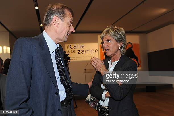 Evelina Christillin and Piero Fassino attend during the Eni Opening Exhibition at the Pinacoteca Agnelli on April 20 2011 in Turin Italy