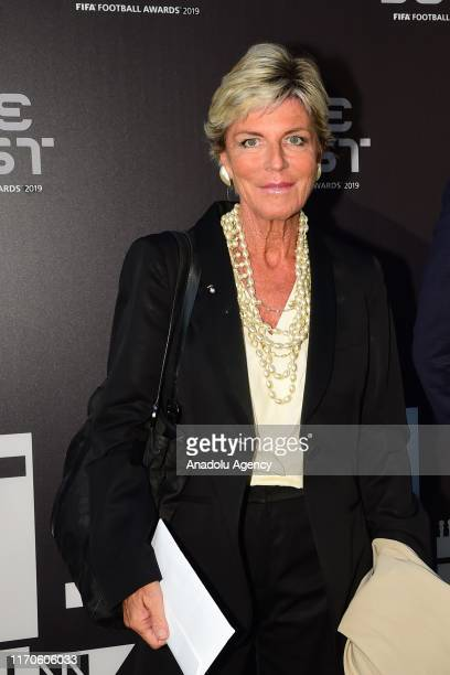 Evelina Christillin arrives on the Green Carpet ahead of The Best FIFA Football Awards at Teatro alla Scala on September 23 2019 in Milan Italy
