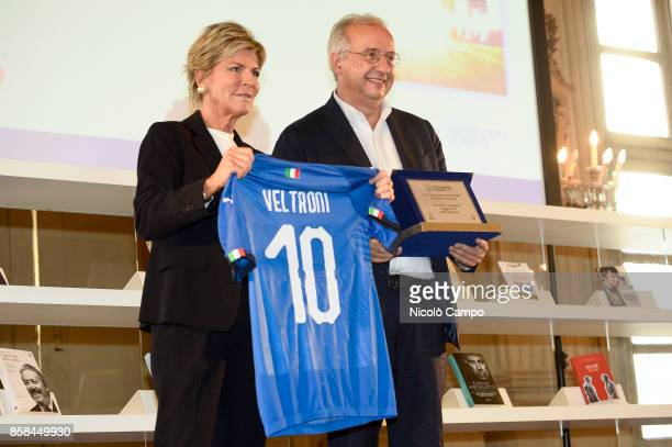 Evelina Christillin awards Walter Veltroni during the award ceremony of the National Football Literature Prize