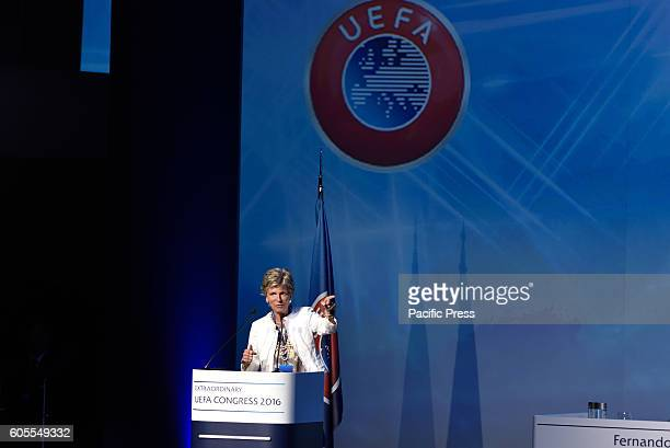 Evelina Christillin female member of the Fifa Council during her speech. The UEFA Executive Committee today met in Basel ahead of the UEFA Europa...