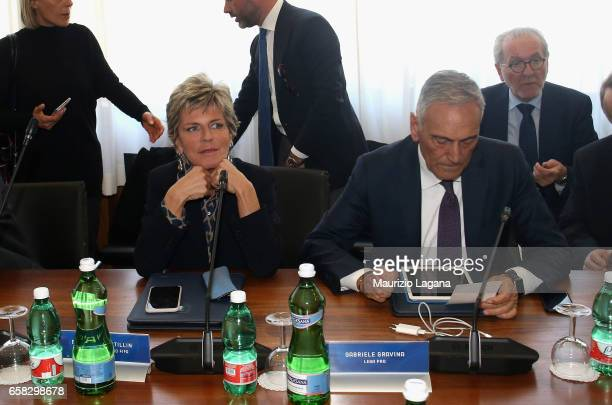 Evelina Christillin of FIFA and Gabriele Gravina of LEGA PRO attend at Italian Football Federation Federal Council Meeting at Coverciano on March 27...