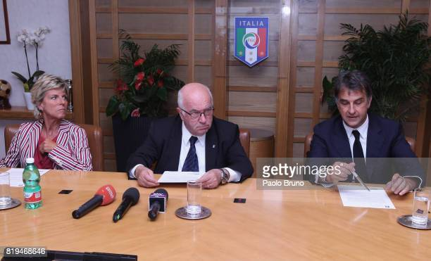 Evelina Christillin of FIFA Carlo Tavecchio FIGC President and Michele Uva FIGC General Director attend the Italian Football Federation press...