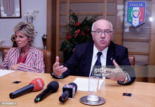 Evelina Christillin of FIFA Carlo Tavecchio FIGC President attend the Italian Football Federation press conference on July 20 2017 in Rome Italy