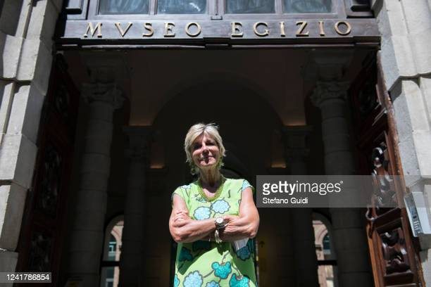 Evelina Christillin, president of the Egyptian Museum of Turin poses outside the Egyptian Museum on June 02, 2020 in Turin, Italy. The Egyptian...