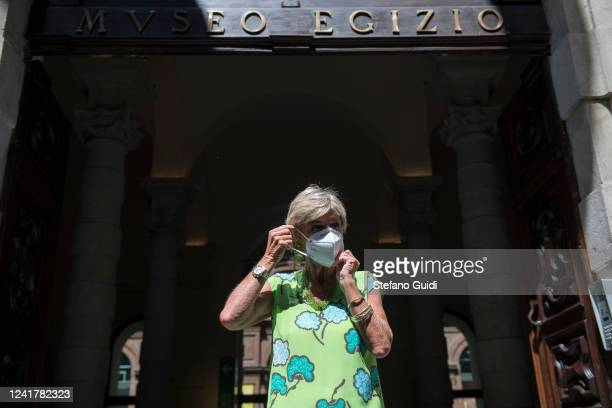 Evelina Christillin, President of the Egyptian Museum of Turin wears a protective mask poseing for photos outside the Egyptian Museum on June 02,...