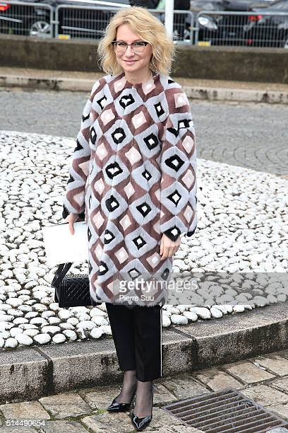 Evelina Khromtchenko arrives at the Miu Miu show as part of the Paris Fashion Week Womenswear Fall/Winter 2016/2017 on March 9 2016 in Paris France