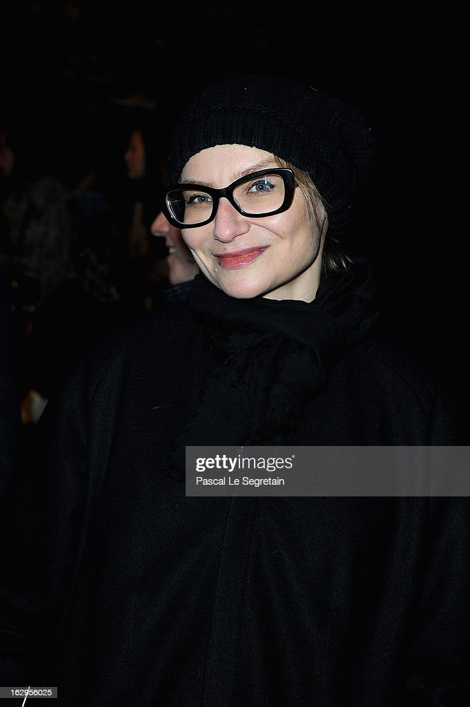 Evelina Khromtchenko attends the front row at the Viktor&Rolf Fall/Winter 2013 Ready-to-Wear show as part of Paris Fashion Week on March 2, 2013 in Paris, France.