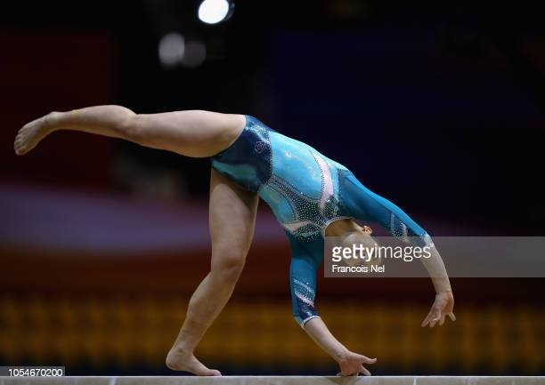 Evelina Maja of Greece competes in the Women's Balance Beam Qualification during day four of the 2018 FIG Artistic Gymnastics Championships at Aspire...